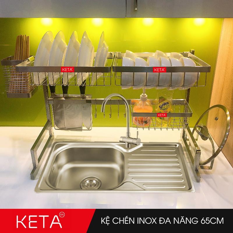 Kệ chén dĩa inox 304 đa năng trên bồn rửa dài 65cm