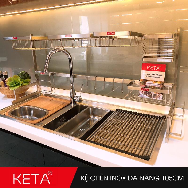 Kệ chén dĩa inox 304 đa năng trên bồn rửa dài 105cm