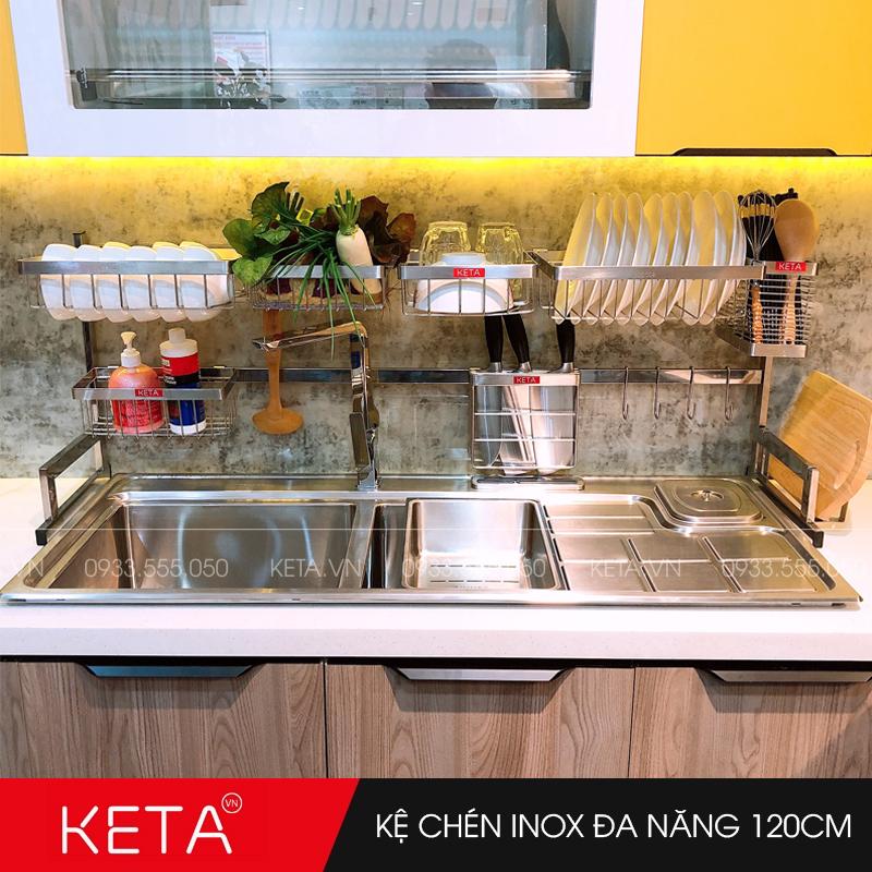 Kệ chén dĩa inox 304 đa năng trên bồn rửa dài 120cm