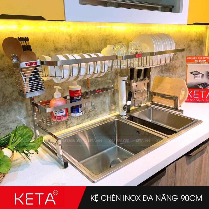 Kệ chén dĩa inox 304 đa năng trên bồn rửa dài 90cm